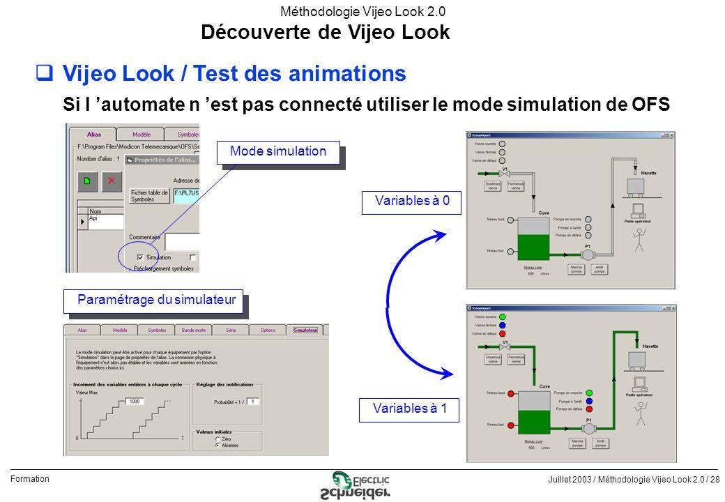 Juillet 2003 / Méthodologie Vijeo Look 2.0 / 28 Formation Méthodologie Vijeo Look 2.0 Découverte de Vijeo Look qVijeo Look / Test des animations Si l