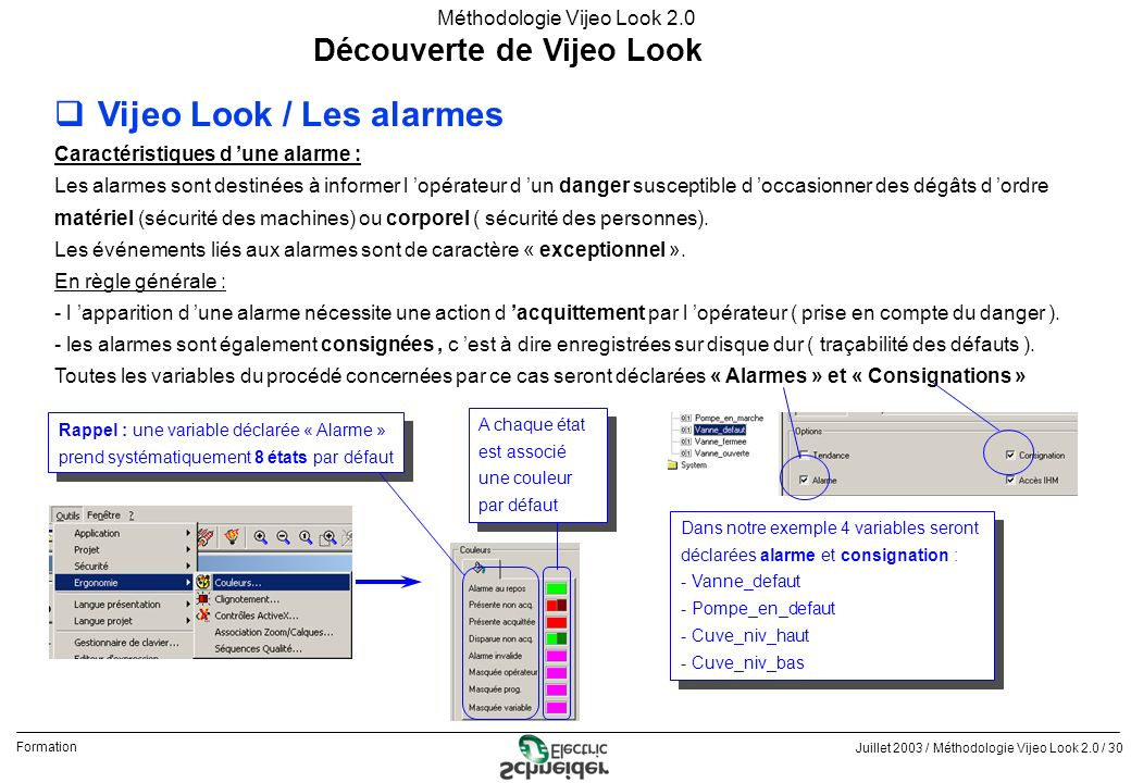Juillet 2003 / Méthodologie Vijeo Look 2.0 / 30 Formation Méthodologie Vijeo Look 2.0 Découverte de Vijeo Look qVijeo Look / Les alarmes Caractéristiq