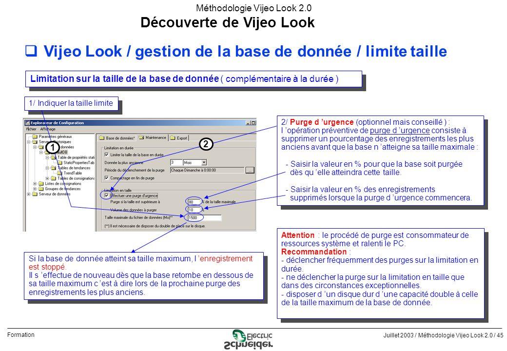 Juillet 2003 / Méthodologie Vijeo Look 2.0 / 45 Formation Méthodologie Vijeo Look 2.0 Découverte de Vijeo Look qVijeo Look / gestion de la base de don