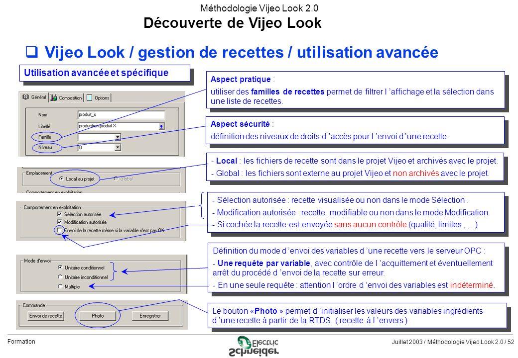 Juillet 2003 / Méthodologie Vijeo Look 2.0 / 52 Formation Méthodologie Vijeo Look 2.0 Découverte de Vijeo Look qVijeo Look / gestion de recettes / uti