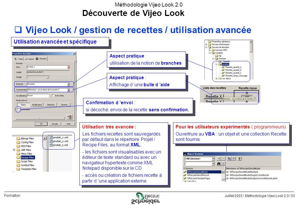 Juillet 2003 / Méthodologie Vijeo Look 2.0 / 53 Formation Méthodologie Vijeo Look 2.0 Découverte de Vijeo Look qVijeo Look / gestion de recettes / uti