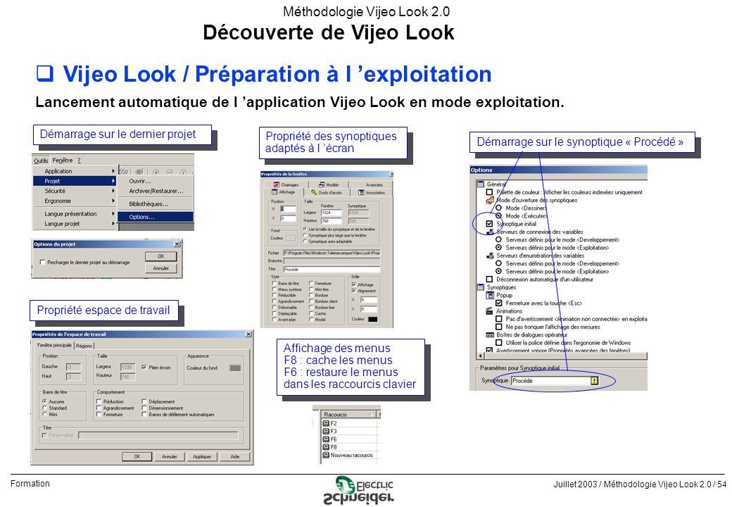 Juillet 2003 / Méthodologie Vijeo Look 2.0 / 54 Formation Méthodologie Vijeo Look 2.0 Découverte de Vijeo Look qVijeo Look / Préparation à l exploitat