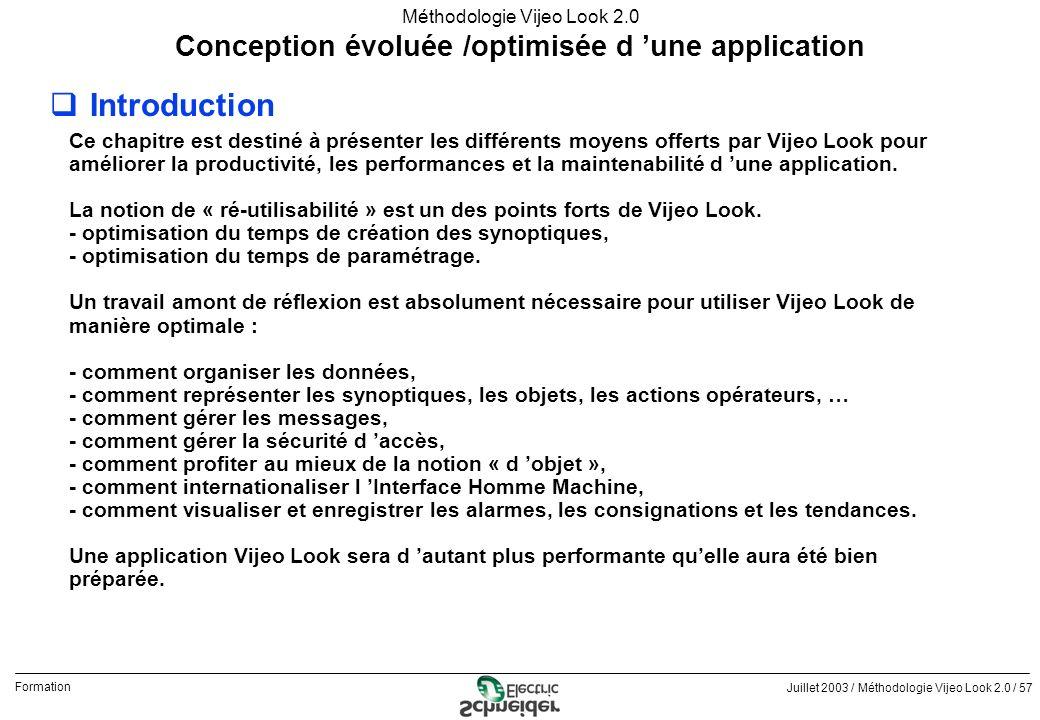 Juillet 2003 / Méthodologie Vijeo Look 2.0 / 57 Formation Méthodologie Vijeo Look 2.0 qIntroduction Conception évoluée /optimisée d une application Ce