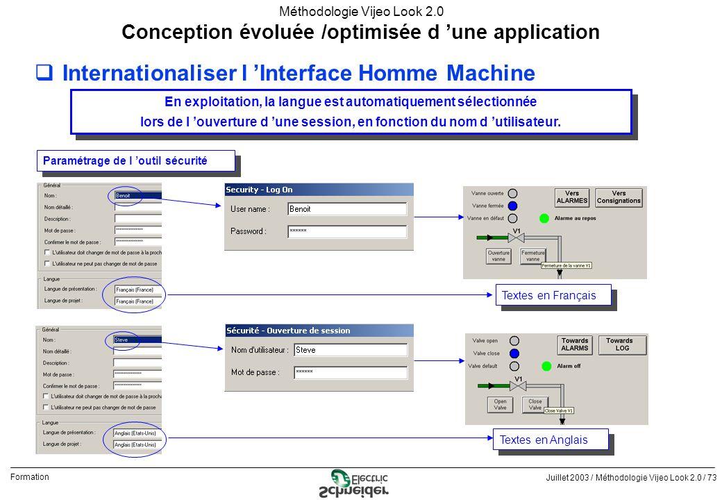 Juillet 2003 / Méthodologie Vijeo Look 2.0 / 73 Formation Méthodologie Vijeo Look 2.0 qInternationaliser l Interface Homme Machine Conception évoluée