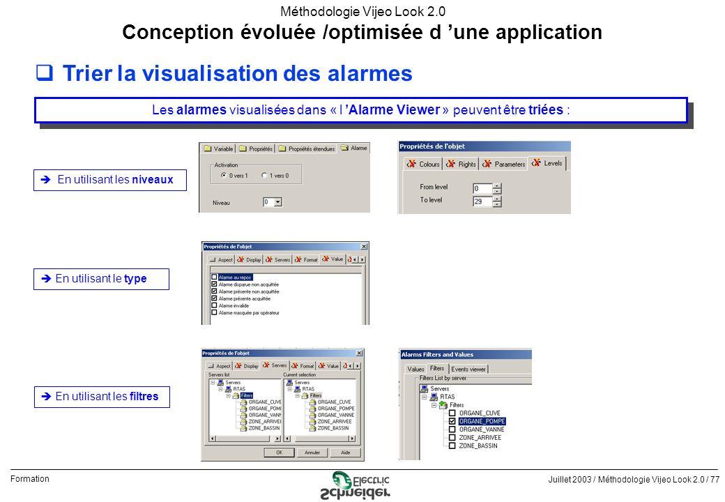 Juillet 2003 / Méthodologie Vijeo Look 2.0 / 77 Formation Méthodologie Vijeo Look 2.0 qTrier la visualisation des alarmes Conception évoluée /optimisé