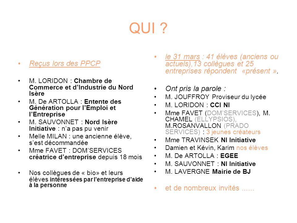 QUI . Reçus lors des PPCP M. LORIDON : Chambre de Commerce et dIndustrie du Nord Isère M.