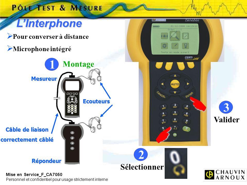 Mise en Service_F_CA7050 Personnel et confidentiel pour usage strictement interne LInterphone 2 Valider 3 Pour converser à distance Microphone intégré