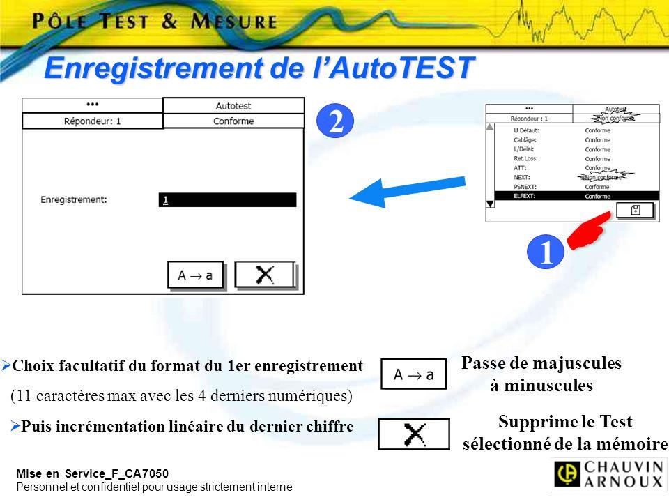 Mise en Service_F_CA7050 Personnel et confidentiel pour usage strictement interne Enregistrement de lAutoTEST Passe de majuscules à minuscules Supprim