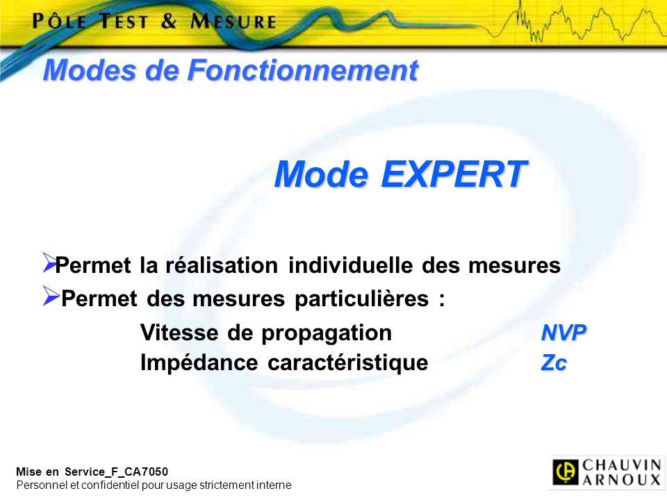 Mise en Service_F_CA7050 Personnel et confidentiel pour usage strictement interne Modes de Fonctionnement Mode EXPERT Permet la réalisation individuel