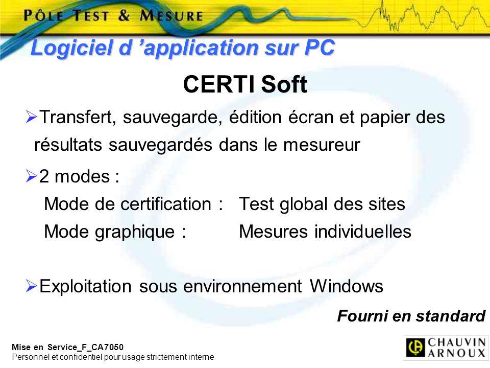 Mise en Service_F_CA7050 Personnel et confidentiel pour usage strictement interne Logiciel d application sur PC CERTI Soft Transfert, sauvegarde, édit