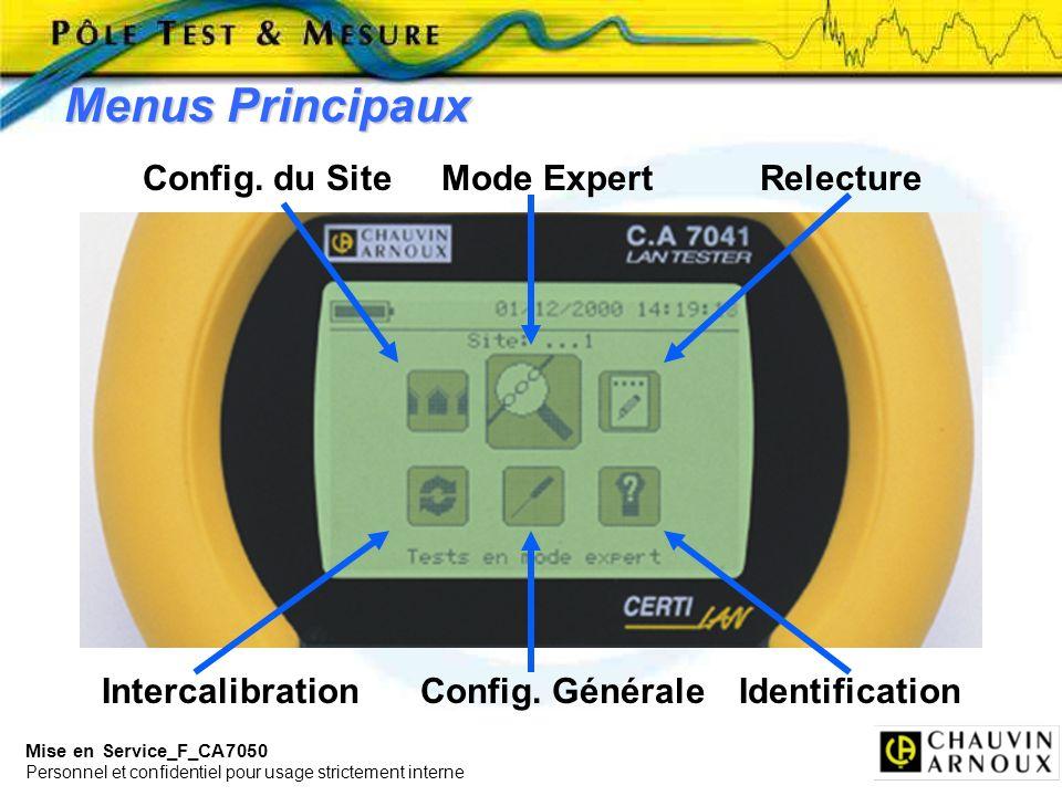 Mise en Service_F_CA7050 Personnel et confidentiel pour usage strictement interne IntercalibrationConfig. GénéraleIdentification Menus Principaux Conf