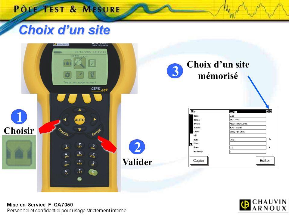 Mise en Service_F_CA7050 Personnel et confidentiel pour usage strictement interne Mode AutoTEST 1 Sélection 2 3 Enchaînement des Tests Résultat des Tests Enregistrement de lAutoTEST