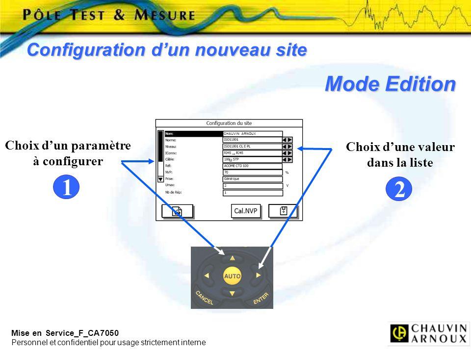 Mise en Service_F_CA7050 Personnel et confidentiel pour usage strictement interne Choix dune valeur dans la liste Configuration dun nouveau site Choix