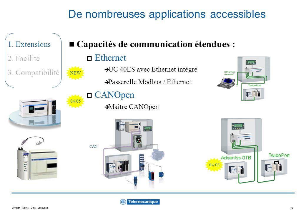 Division - Name - Date - Language 23 1. Extensions 2. Facilité 3. Compatibilité Twido - de nombreuses applications accessibles Au plus proche de vos b