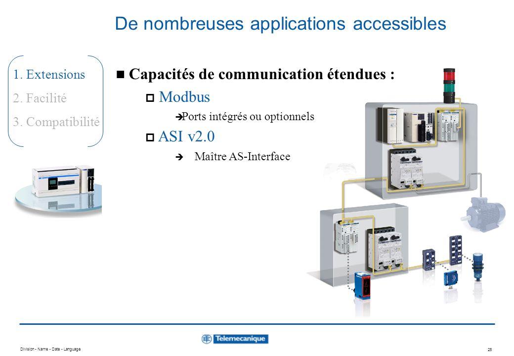 Division - Name - Date - Language 24 1. Extensions 2. Facilité 3. Compatibilité De nombreuses applications accessibles Capacités de communication éten