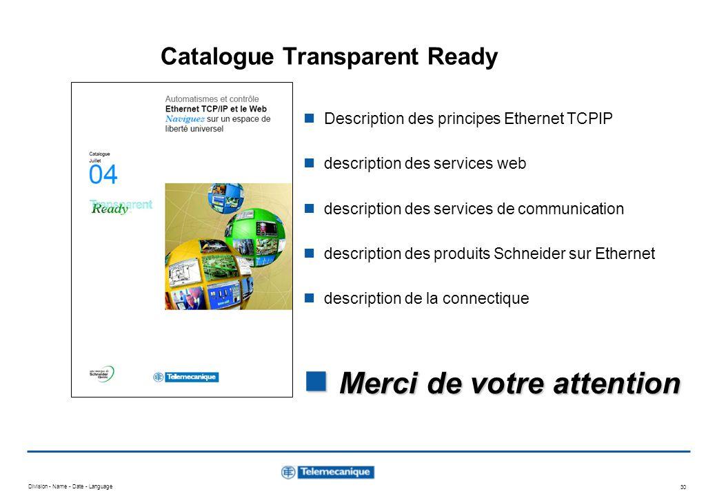 Division - Name - Date - Language 29 Schéma de principe Twido / PC Vijeo Look sur Ethernet Entrées Bus de terrain CanOpen / ASi Ethernet TCPIP Modbus