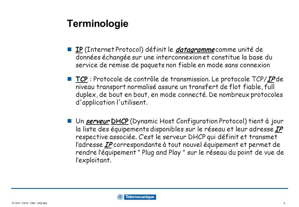 Division - Name - Date - Language 5 Terminologie IP (Internet Protocol) définit le datagramme comme unité de données échangée sur une interconnexion et constitue la base du service de remise de paquets non fiable en mode sans connexion TCP : Protocole de contrôle de transmission.