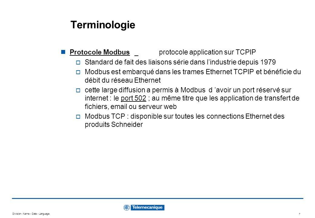 Division - Name - Date - Language 6 Terminologie adresse MAC : adresse physique d un équipement sur Ethernet une adresse MAC est unique ; souvent transcrite en hexa, elle est codée sur 6 octets adresse IP : adresse d un équipement Ethernet TCP/IP l adresse IP est configurée en fonction de la classe d adresse du réseau utilisé ; elle est codée sur 4 octets Ping (Packet Internet Groper).