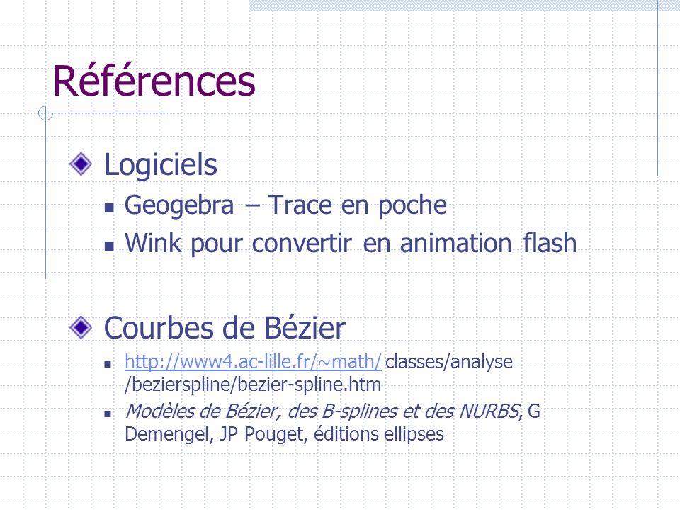 Références Logiciels Geogebra – Trace en poche Wink pour convertir en animation flash Courbes de Bézier http://www4.ac-lille.fr/~math/ classes/analyse