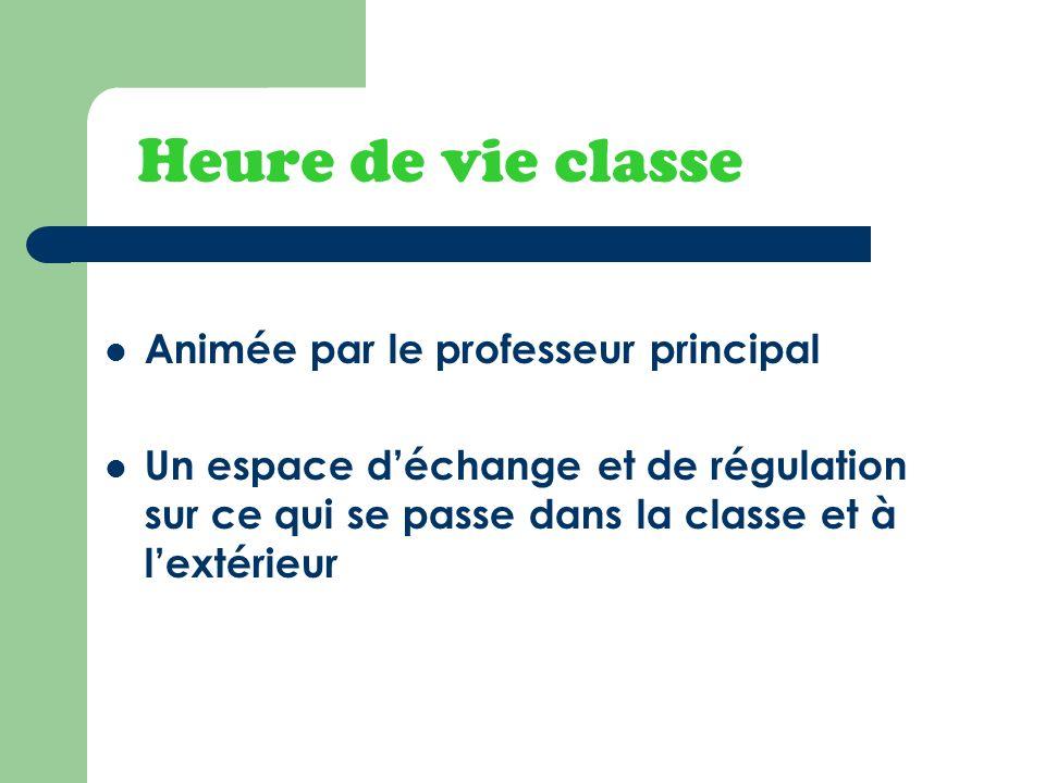 Heure de vie classe Animée par le professeur principal Un espace déchange et de régulation sur ce qui se passe dans la classe et à lextérieur
