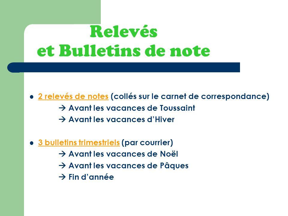 Relevés et Bulletins de note 2 relevés de notes (collés sur le carnet de correspondance) Avant les vacances de Toussaint Avant les vacances dHiver 3 b