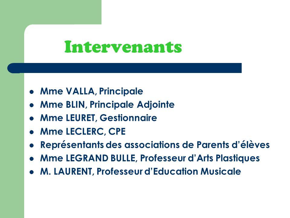 Intervenants Mme VALLA, Principale Mme BLIN, Principale Adjointe Mme LEURET, Gestionnaire Mme LECLERC, CPE Représentants des associations de Parents d