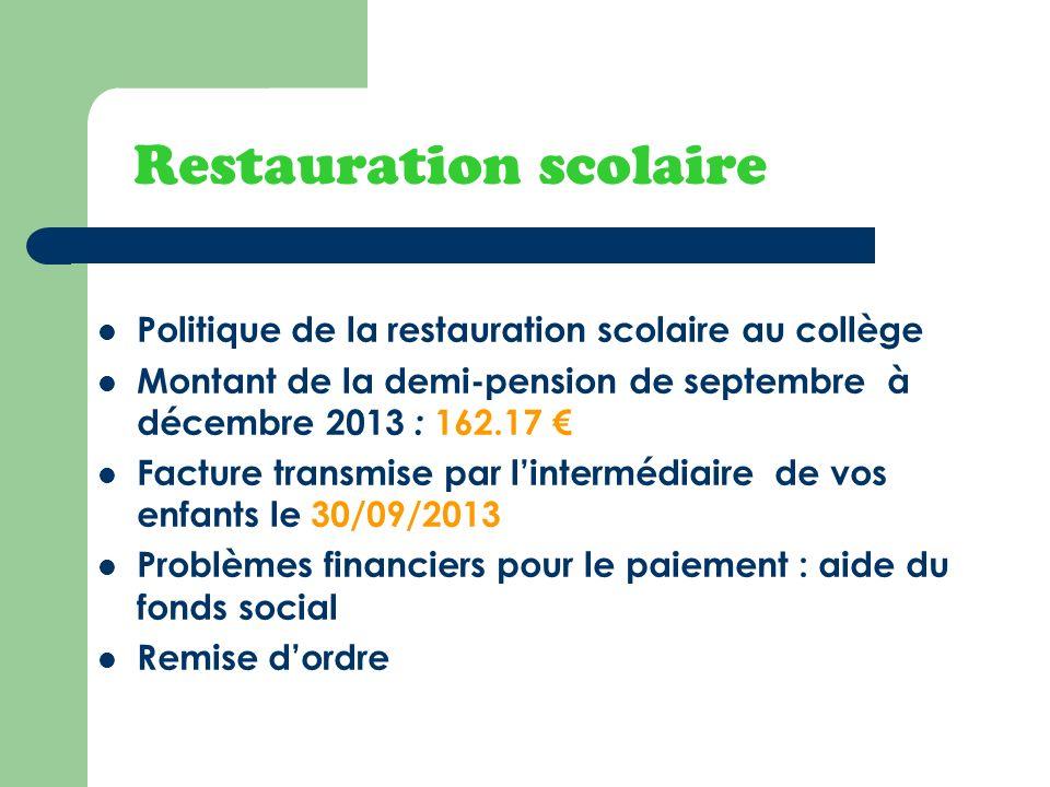 Restauration scolaire Politique de la restauration scolaire au collège Montant de la demi-pension de septembre à décembre 2013 : 162.17 Facture transm