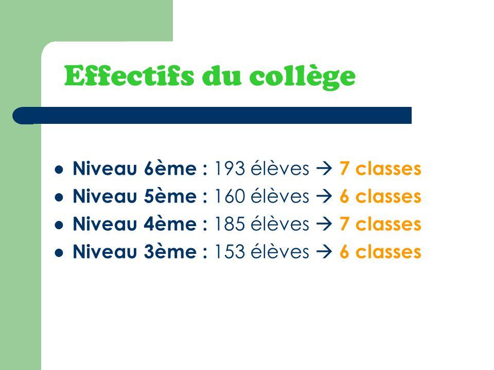 Effectifs du collège Niveau 6ème : 193 élèves 7 classes Niveau 5ème : 160 élèves 6 classes Niveau 4ème : 185 élèves 7 classes Niveau 3ème : 153 élèves