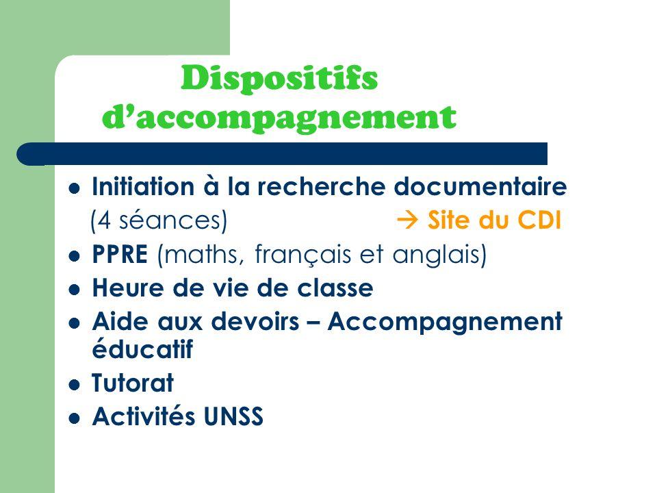 Dispositifs daccompagnement Initiation à la recherche documentaire (4 séances) Site du CDI PPRE (maths, français et anglais) Heure de vie de classe Ai