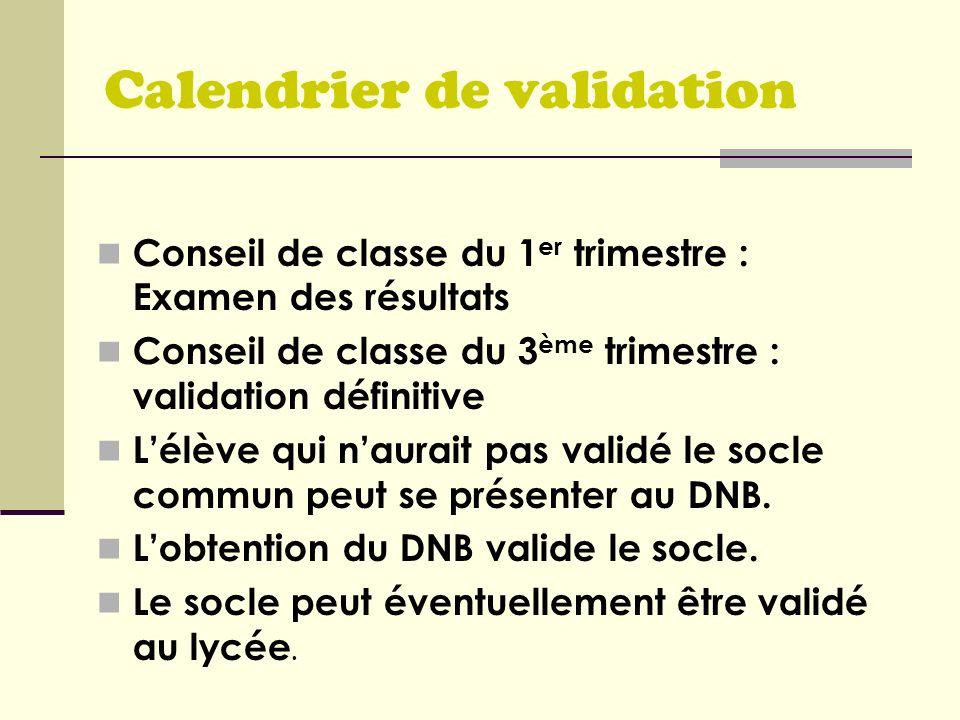 Calendrier de validation Conseil de classe du 1 er trimestre : Examen des résultats Conseil de classe du 3 ème trimestre : validation définitive Lélèv