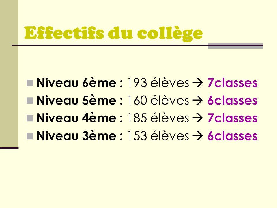 Effectifs du collège Niveau 6ème : 193 élèves 7classes Niveau 5ème : 160 élèves 6classes Niveau 4ème : 185 élèves 7classes Niveau 3ème : 153 élèves 6c