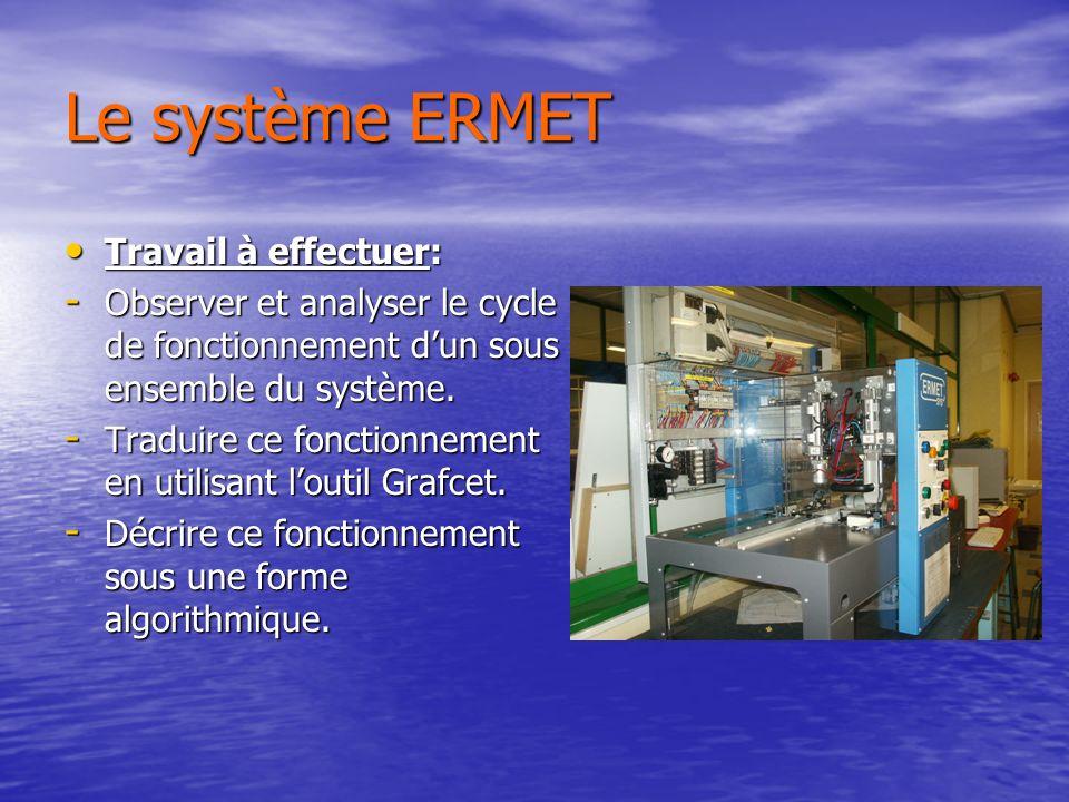 Le système ERMET Travail à effectuer: Travail à effectuer: - Observer et analyser le cycle de fonctionnement dun sous ensemble du système.