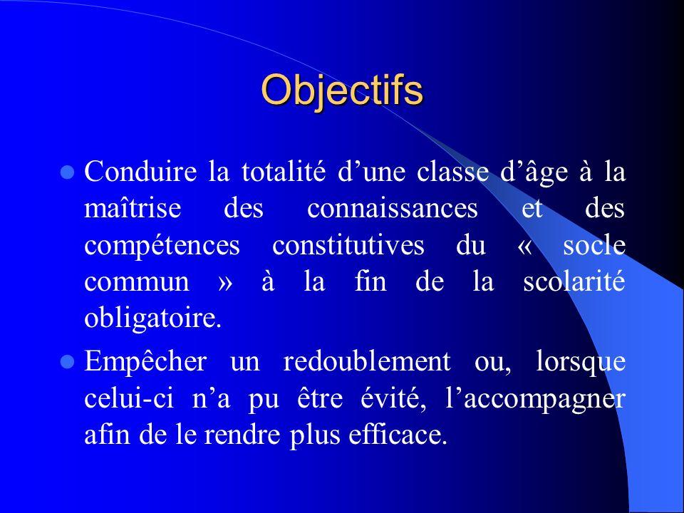 Objectifs Conduire la totalité dune classe dâge à la maîtrise des connaissances et des compétences constitutives du « socle commun » à la fin de la scolarité obligatoire.