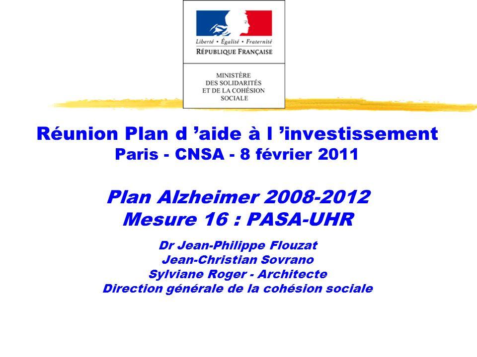 Réunion Plan d aide à l investissement Paris - CNSA - 8 février 2011 Plan Alzheimer 2008-2012 Mesure 16 : PASA-UHR Dr Jean-Philippe Flouzat Jean-Chris