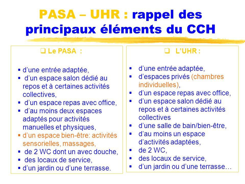 PASA – UHR : rappel des principaux éléments du CCH LUHR : dune entrée adaptée, despaces privés (chambres individuelles), dun espace repas avec office,