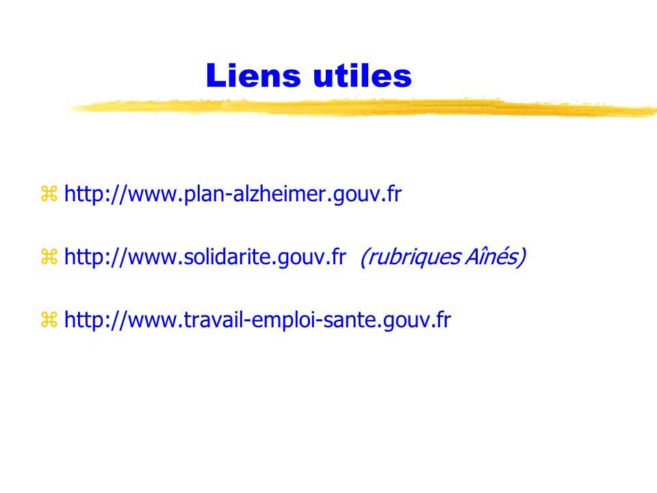 Liens utiles zhttp://www.plan-alzheimer.gouv.fr zhttp://www.solidarite.gouv.fr (rubriques Aînés) zhttp://www.travail-emploi-sante.gouv.fr