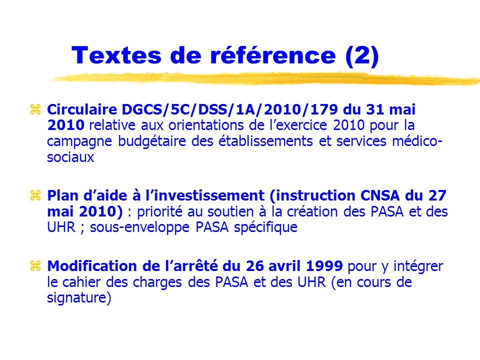 Textes de référence (2) zCirculaire DGCS/5C/DSS/1A/2010/179 du 31 mai 2010 relative aux orientations de lexercice 2010 pour la campagne budgétaire des