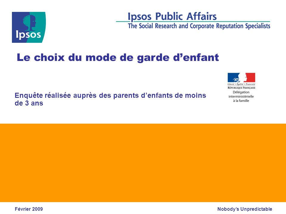 DIF – Le choix du mode de garde denfant – Février 2009 © 2009 Ipsos 12 Compétences requises pour la garde denfants Quelles sont, selon vous, les deux compétences qui doivent être requises prioritairement pour les personnes à qui lon confie des enfants .
