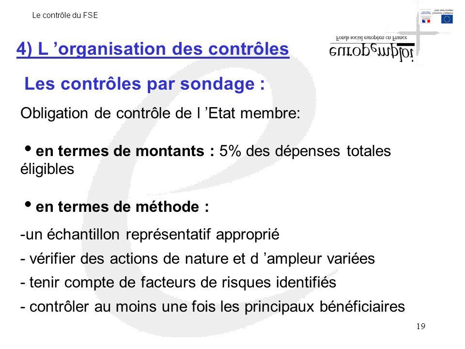 19 Les contrôles par sondage : 4) L organisation des contrôles Obligation de contrôle de l Etat membre: en termes de montants : 5% des dépenses totales éligibles en termes de méthode : -un échantillon représentatif approprié - vérifier des actions de nature et d ampleur variées - tenir compte de facteurs de risques identifiés - contrôler au moins une fois les principaux bénéficiaires Le contrôle du FSE