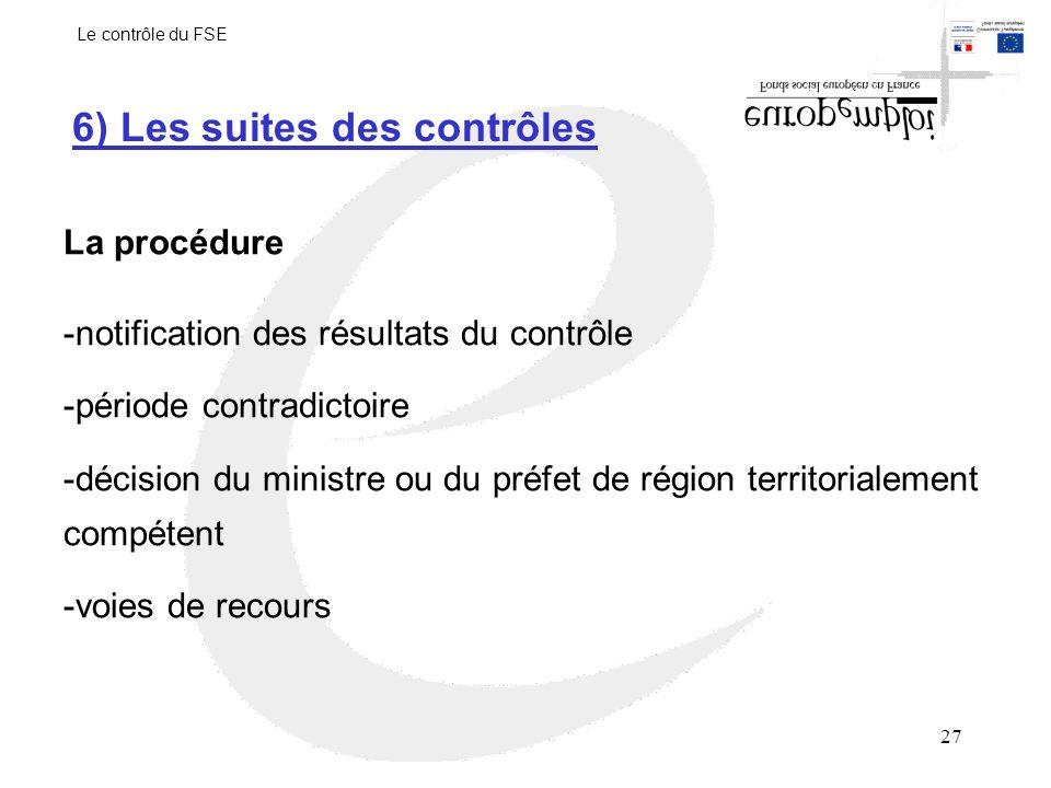 27 6) Les suites des contrôles La procédure -notification des résultats du contrôle -période contradictoire -décision du ministre ou du préfet de région territorialement compétent -voies de recours Le contrôle du FSE