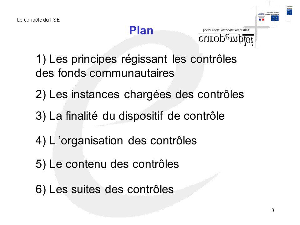 3 Plan 1) Les principes régissant les contrôles des fonds communautaires 2) Les instances chargées des contrôles 3) La finalité du dispositif de contrôle 4) L organisation des contrôles 5) Le contenu des contrôles 6) Les suites des contrôles Le contrôle du FSE