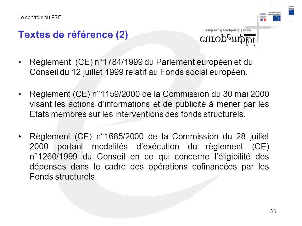 30 Textes de référence (2) Règlement (CE) n°1784/1999 du Parlement européen et du Conseil du 12 juillet 1999 relatif au Fonds social européen.