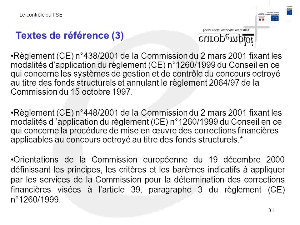 31 Règlement (CE) n°438/2001 de la Commission du 2 mars 2001 fixant les modalités dapplication du règlement (CE) n°1260/1999 du Conseil en ce qui concerne les systèmes de gestion et de contrôle du concours octroyé au titre des fonds structurels et annulant le règlement 2064/97 de la Commission du 15 octobre 1997.