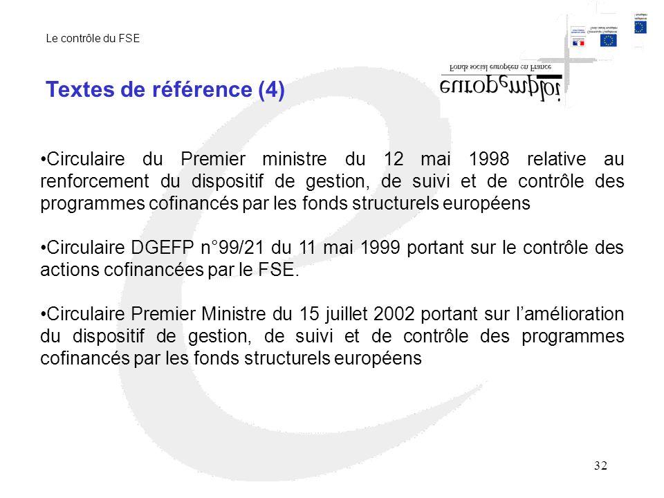 32 Circulaire du Premier ministre du 12 mai 1998 relative au renforcement du dispositif de gestion, de suivi et de contrôle des programmes cofinancés par les fonds structurels européens Circulaire DGEFP n°99/21 du 11 mai 1999 portant sur le contrôle des actions cofinancées par le FSE.