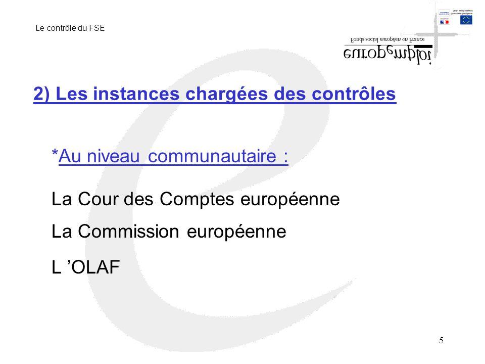 5 2) Les instances chargées des contrôles *Au niveau communautaire : La Cour des Comptes européenne La Commission européenne L OLAF Le contrôle du FSE