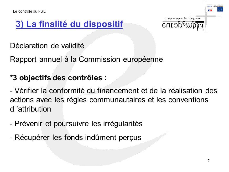 8 Article 38 du règlement 1260/99 du 21 juin 1999 Article 2-1 du règlement 438/2001 du 02 mars 2001 La finalité du dispositif de contrôle est de contribuer avec les systèmes de gestion à donner une assurance suffisante que les demandes de concours communautaires correspondent à des dépenses exactes, régulières et éligibles 3) La finalité du dispositif Le contrôle du FSE