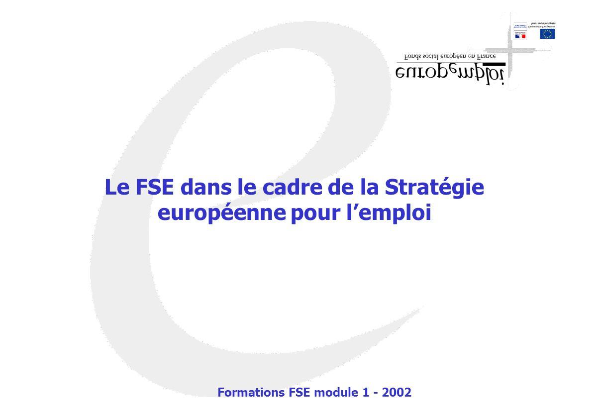 Le FSE dans le cadre de la Stratégie européenne pour lemploi Formations FSE module 1 - 2002