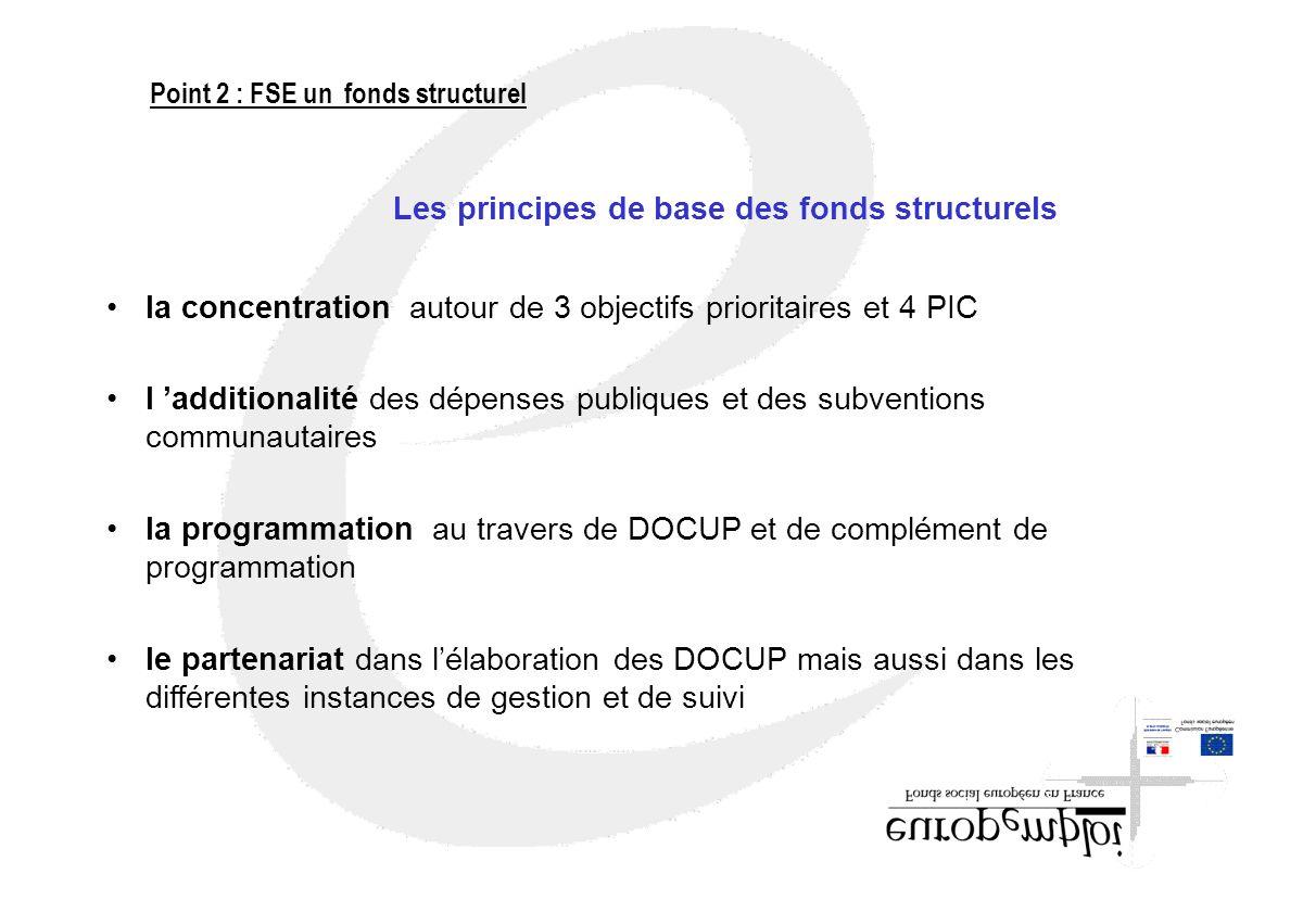 Les principes de base des fonds structurels la concentration autour de 3 objectifs prioritaires et 4 PIC l additionalité des dépenses publiques et des