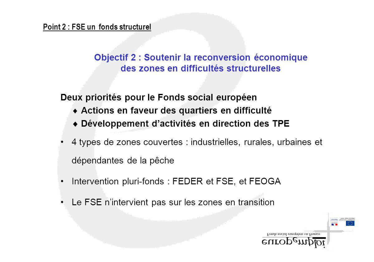 Objectif 2 : Soutenir la reconversion économique des zones en difficultés structurelles Deux priorités pour le Fonds social européen Actions en faveur