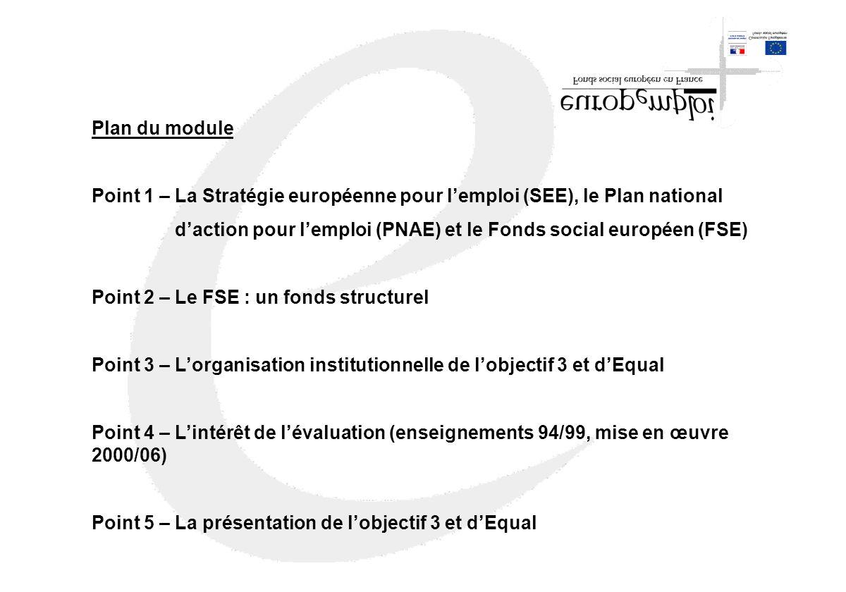 Plan du module Point 1 – La Stratégie européenne pour lemploi (SEE), le Plan national daction pour lemploi (PNAE) et le Fonds social européen (FSE) Po